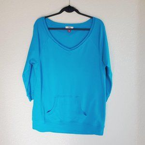 L.E.I. Turquoise 3/4 Sleeve Junior's Sweatshirt 2X